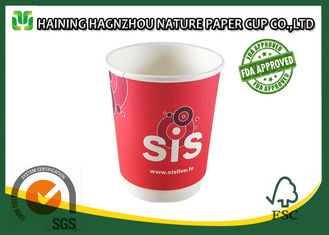 China Home / Office Double Wall Paper Cups 400 Ml White Color For Hot Drinks supplier
