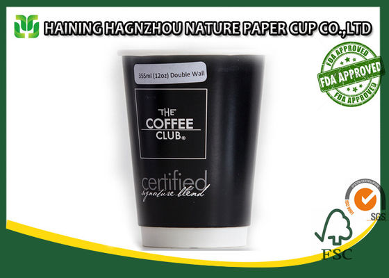 China Gold Foil 12 Oz  Insulated Disposable Coffee Cups Black Color FDA Certification supplier