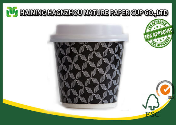 Water / Tea Take Out Double Wall Paper Cups Pantone White Color For Office