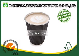 China Hot Coffee Ripple Wall Paper Cups 12 Ounce With Food Grade Printing Ink supplier