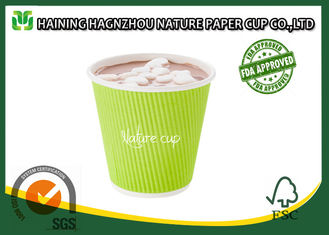 Hot Beverage Kraft Ripple Wall Paper Cups Food Grade Printing For Cafe / Home