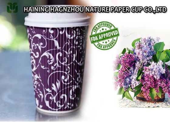 China PE Coating Ripple Hot Cups , Heat Insulated Ripple Paper Coffee Cups supplier