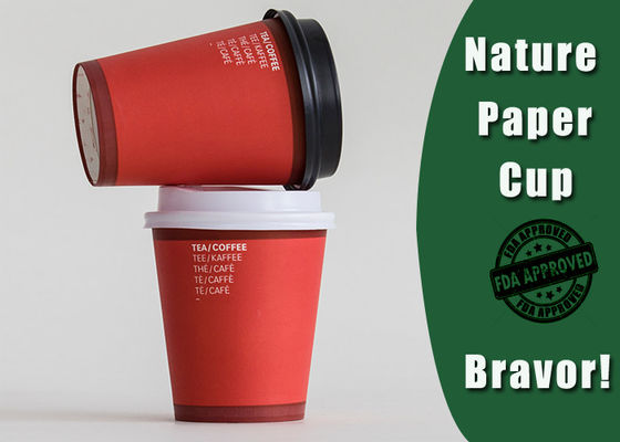 China Fashional Style Personalized Paper Cups For Business Red / White Color 8 Ounces supplier