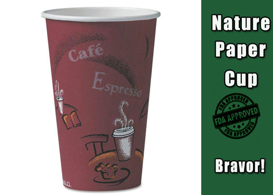 16oz Personalised Double Wall Paper Cups , Insulated Paper Cups With Lid