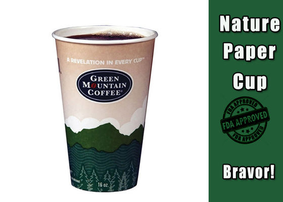 Custom Printed 12oz Recyclable Paper Cups Colorful For Hot Coffee / Tea