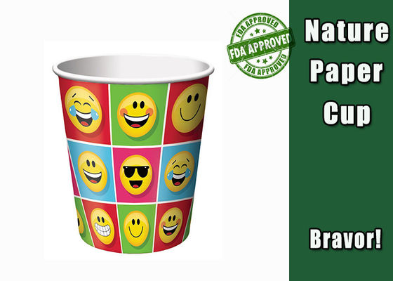 China Smiley Face Paper Espresso Cups Food Grade 8 Oz With FDA Certification supplier