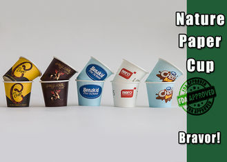 China Single Wall Small Paper Ice Cream Cups , Disposable Espresso Cups With Lids supplier