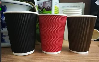 China Double Layer Ripple Wall Paper Cups Solid Color With Neat Cutting Edge supplier