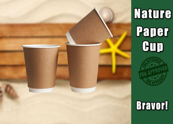 Hot / Clod Drink Kraft Paper Cups Customized Printing For Ice Cream