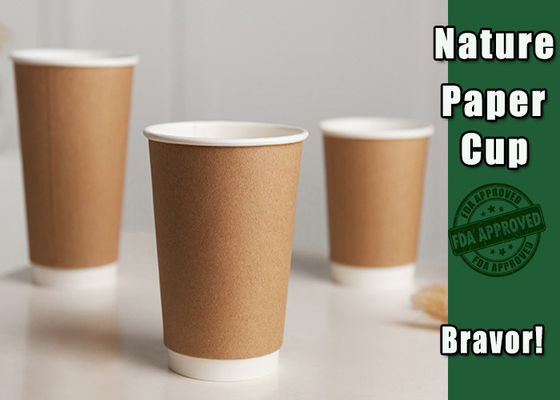 Takeaway 12 Oz Kraft Paper Cups With Lids Food Grade Eco - Friendly