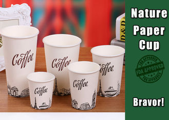 China Logo Printed Heat Resistant Paper Cups High Smoothness With White PS Lids supplier