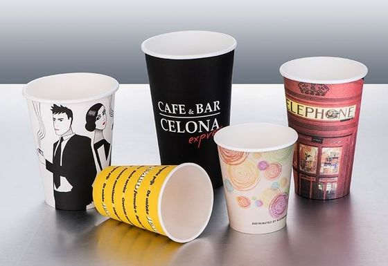 Single Wall Vending Paper Cups Multi - Colors With Neat Cutting Edge