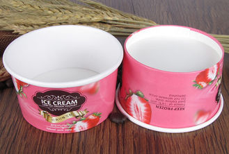 Pink Paper Ice Cream Sundae Cups , Vegetables Paper Salad Bowls Eco Friendly