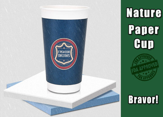 China Coloured 16 Oz  Insulated Paper Cups Double PE Coated Paper Cold Resistant supplier