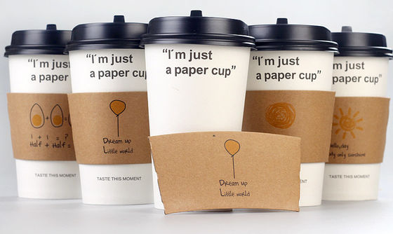China Disposable Cardboard Coffee Sleeve Heat Proof Simple Pattern For Hot Coffee supplier