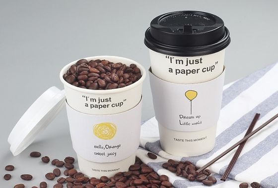 Single / Double Wall Paper Coffee Cup Sleeves , Personalized Coffee Sleeves Wedding