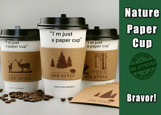 Custom Logo Hot Paper Cup Sleeves Brown Color Lightweight With Heat Insulation