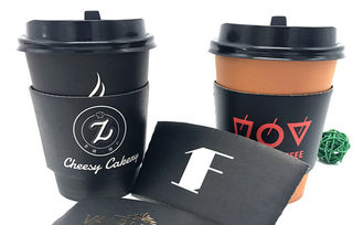 Black Coffee Cup Cardboard Sleeve , Custom Coffee Sleeves For Wedding