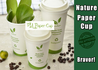China Single Wall Eco Paper Coffee Cups 8 Oz White Color Environmental Friendly supplier