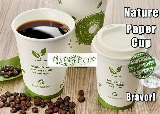 China 265ml PLA Biodegradable Paper Coffee Cups Insulated With Neat Cutting Edge supplier