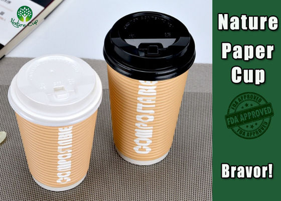PLA Coated 12 Ounce Paper Cups , Disposable Double Wall Paper Coffee Cups