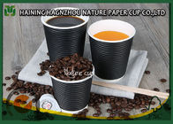 Customized Triple Wall Paper Coffee Cups , Biodegradable Disposable Ripple Coffee Cups
