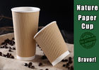 Insulated Printed Brown Kraft Paper Cups With Lids BRC Certification