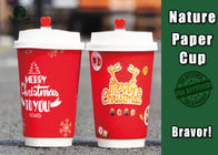 Flexo Printing Insulated Paper Cups Disposable Food Grade With Plastic Lid