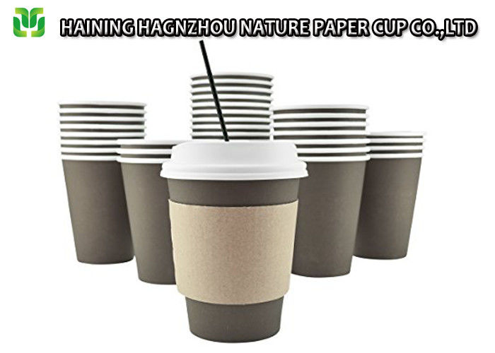 16 Oz White Compostable Paper Coffee Cups No Smell Food Packaging Grade