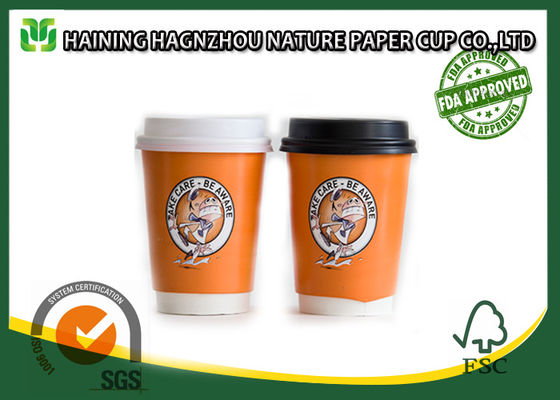 China Paper Double Layer Coffee Cups , Heat Insulated Office Paper Cups Food Grade factory