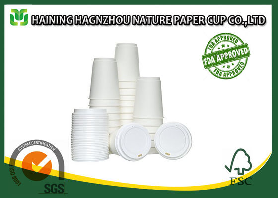 China White Double Walled Disposable Coffee Cups , Takeaway Paper Coffee Cups With Lids factory