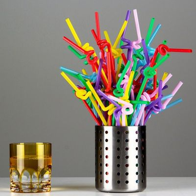 China Colorful / Black Coffee Straws , Wedding Party Disposable Plastic Straws factory
