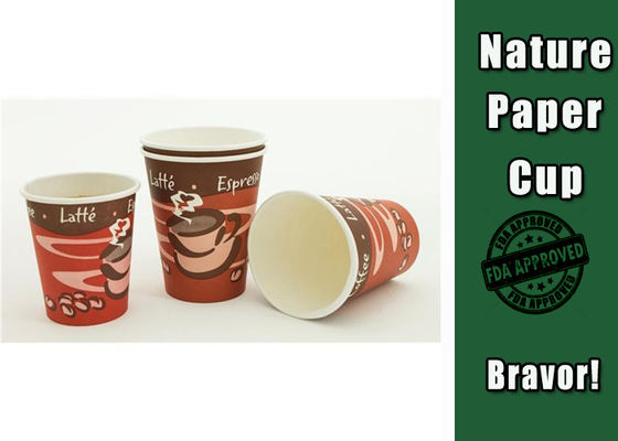 China Customsized LOGO 8 Oz Hot Drink Cups Takeaway Single Wall For Coffee / Tea factory