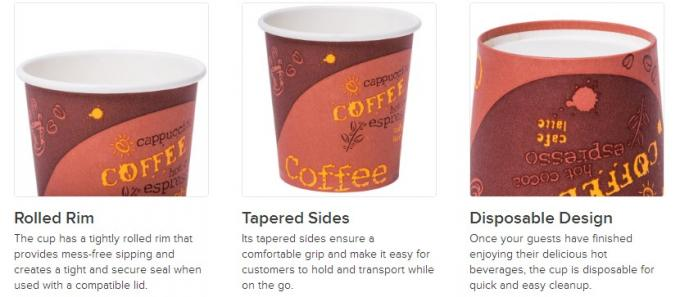 Custom Printed Single Wall Paper Cups 7 Oz No Toxic Full Eco - Friendly