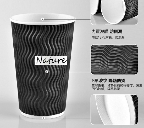 Double Layer Ripple Wall Paper Cups Solid Color With Neat Cutting Edge