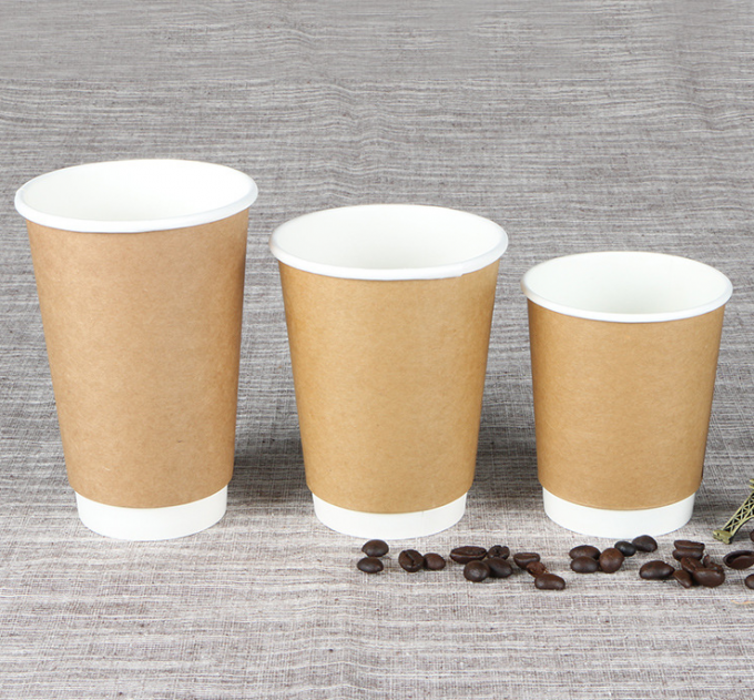 Coffee Kraft 12 Oz Hot Drink Cups Eco - Friendly With Flexo / Offset Printing