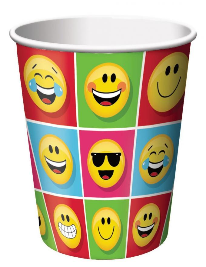 Smiley Face Paper Espresso Cups Food Grade 8 Oz With FDA Certification
