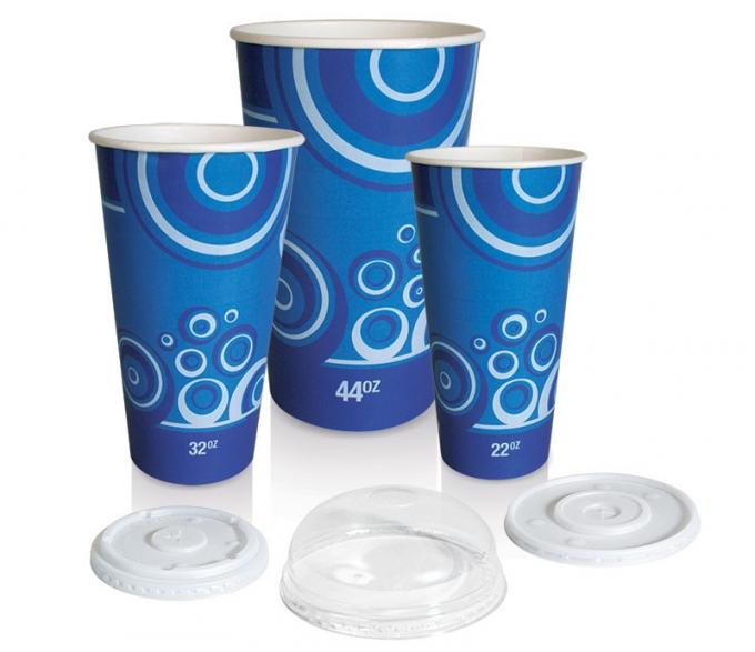 PE Coated Paper Takeaway Smoothie Cups 16 Ounce Double Wall With Accurate Printing