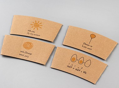 Wedding Kraft Paper Cup Sleeves Heat Insulation With Food Grade Printing