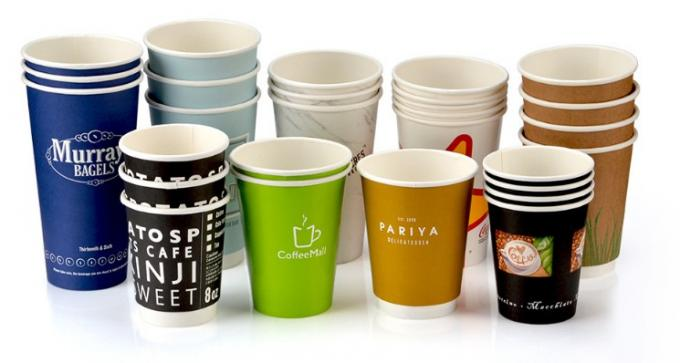 16 Oz Compostable PLA Paper Cups Recyclable PE Coated For Hot Drinking